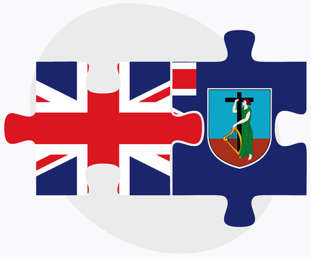 montserrat: United Kingdom and Montserrat Flags in puzzle isolated on white background
