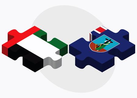 montserrat: United Arab Emirates and Montserrat Flags in puzzle isolated on white background
