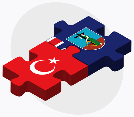 montserrat: Turkey and Montserrat Flags in puzzle isolated on white background