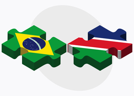 federative republic of brazil: Brazil and Namibia Flags in puzzle isolated on white background