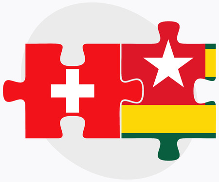 togo: Switzerland and Togo Flags in puzzle isolated on white background