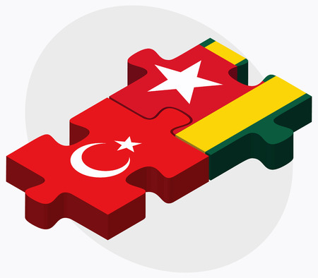 togo: Turkey and Togo Flags in puzzle isolated on white background