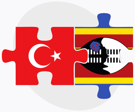 swaziland: Turkey and Swaziland Flags in puzzle isolated on white background