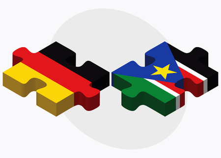 federal republic of germany: Germany and South Sudan Flags in puzzle isolated on white background Illustration