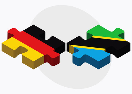 tanzania: Germany and Tanzania Flags in puzzle isolated on white background Illustration