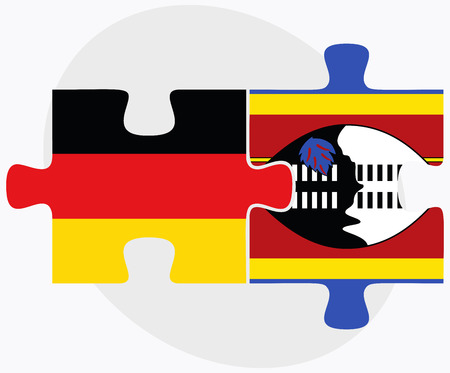 federal republic of germany: Germany and Swaziland Flags in puzzle isolated on white background Illustration