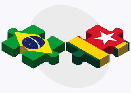 federative republic of brazil: Brazil and Togo Flags in puzzle isolated on white background