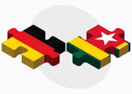 togo: Germany and Togo Flags in puzzle isolated on white background
