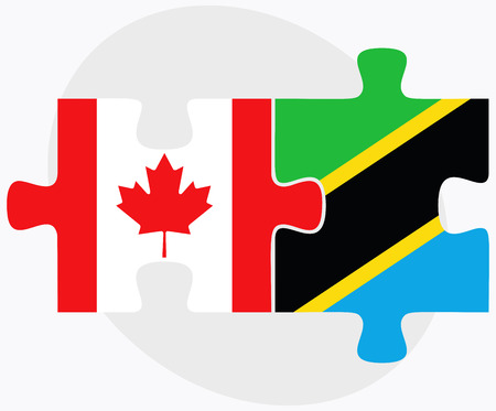 Canada and Tanzania Flags in puzzle isolated on white background