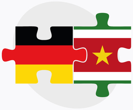 federal republic of germany: Germany and Suriname Flags in puzzle isolated on white background