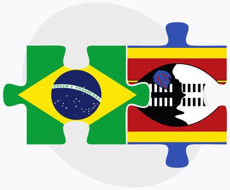 federative republic of brazil: Brazil and Swaziland Flags in puzzle isolated on white background