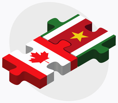 suriname: Canada and Suriname Flags in puzzle isolated on white background Illustration