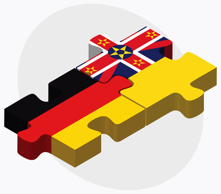 niue: Germany and Niue Flags in puzzle isolated on white background Illustration