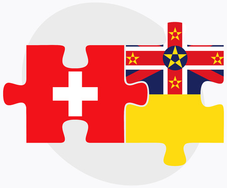 niue: Switzerland and Niue Flags in puzzle isolated on white background