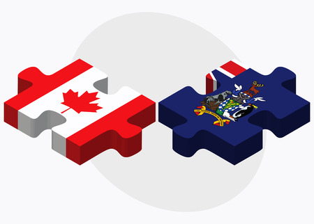 south georgia: Canada and South Georgia and the South Sandwich Islands Flags in puzzle isolated on white background Illustration