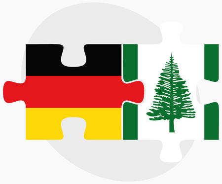 federal republic of germany: Germany and Norfolk Island Flags in puzzle isolated on white background