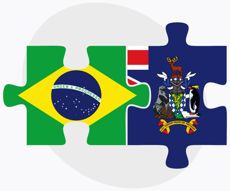 south georgia: Brazil and South Georgia and the South Sandwich Islands Flags in puzzle isolated on white background