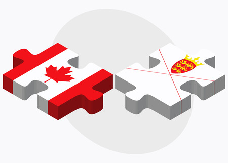 bailiwick: Canada and Jersey Flags in puzzle isolated on white background