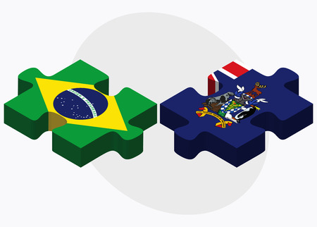 sandwich white background: Brazil and South Georgia and the South Sandwich Islands Flags in puzzle isolated on white background