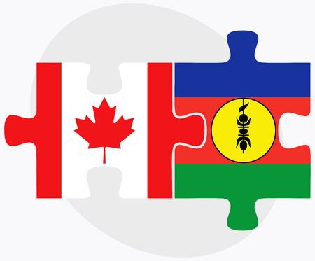 new caledonia: Canada and New Caledonia Flags in puzzle isolated on white background