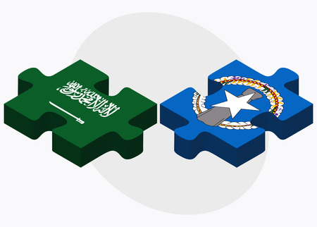 mariana: Saudi Arabia and Northern Mariana Islands Flags in puzzle isolated on white background