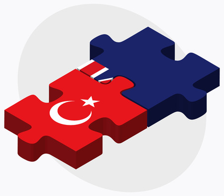 eurasian: Turkey and South Georgia and the South Sandwich Islands Flags in puzzle isolated on white background Illustration