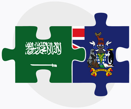 south georgia: Saudi Arabia and South Georgia and the South Sandwich Islands Flags in puzzle isolated on white background