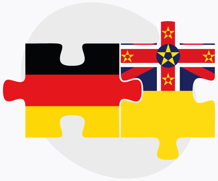 federal republic of germany: Germany and Niue Flags in puzzle isolated on white background Illustration