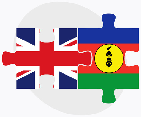 new caledonia: United Kingdom and New Caledonia Flags in puzzle isolated on white background Illustration