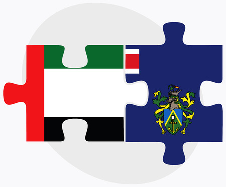 pitcairn: United Arab Emirates and Pitcairn Islands Flags in puzzle isolated on white background