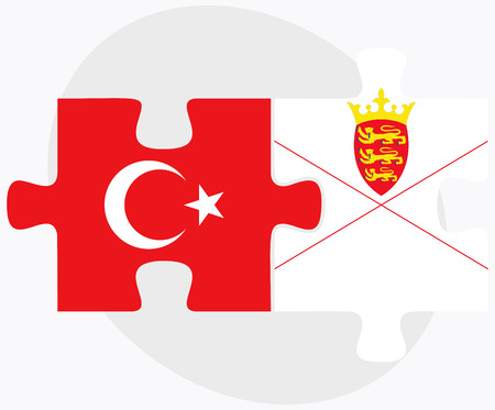 bailiwick: Turkey and Jersey Flags in puzzle isolated on white background Illustration
