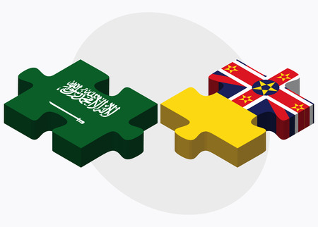 niue: Saudi Arabia and Niue Flags in puzzle isolated on white background Illustration