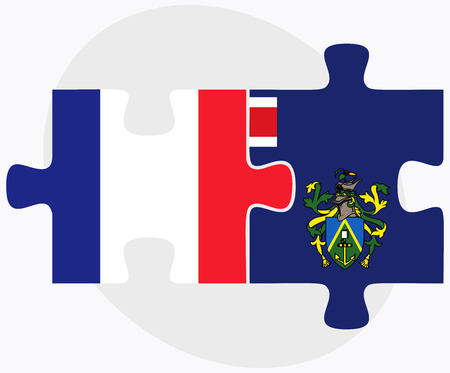 pitcairn: France and Pitcairn Islands Flags in puzzle isolated on white background
