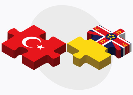 niue: Turkey and Niue Flags in puzzle isolated on white background