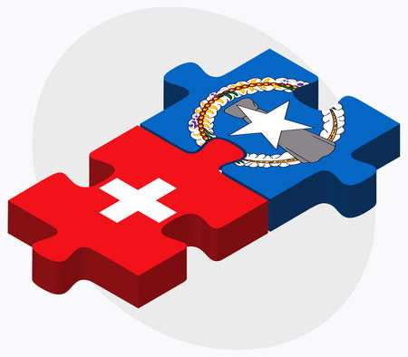 mariana: Switzerland and Northern Mariana Islands Flags in puzzle isolated on white background