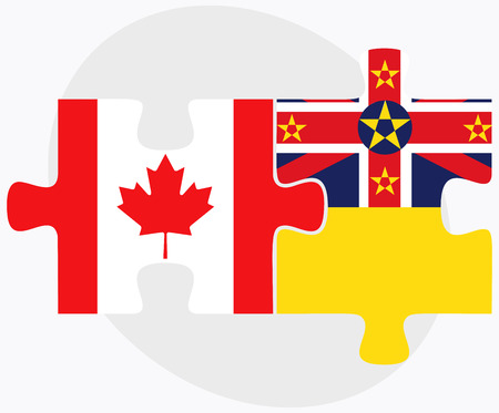 niue: Canada and Niue Flags in puzzle isolated on white background