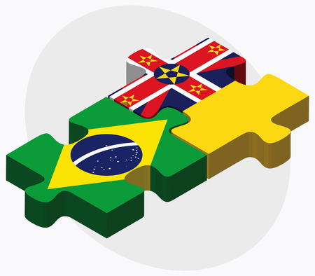 niue: Brazil and Niue Flags in puzzle isolated on white background