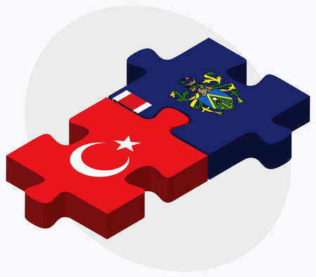 pitcairn: Turkey and Pitcairn Islands Flags in puzzle isolated on white background