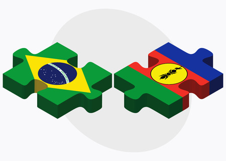federative republic of brazil: Brazil and New Caledonia Flags in puzzle isolated on white background