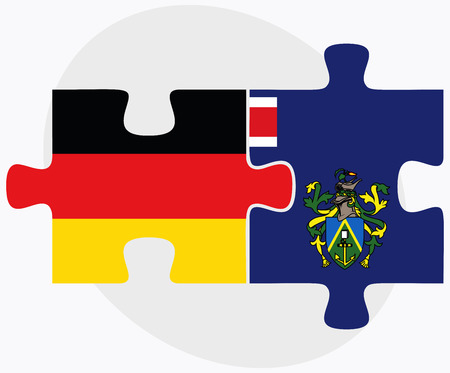 pitcairn: Germany and Pitcairn Islands Flags in puzzle isolated on white background