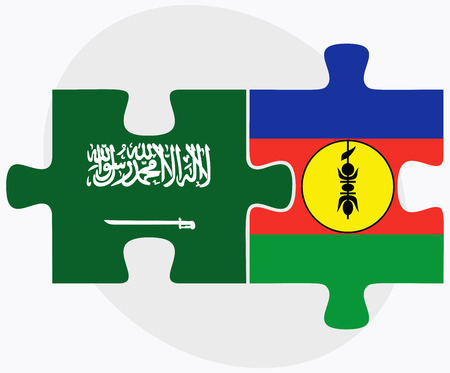new caledonia: Saudi Arabia and New Caledonia Flags in puzzle isolated on white background Illustration