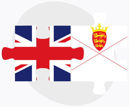 bailiwick: United Kingdom and Jersey Flags in puzzle isolated on white background