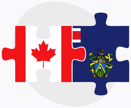 pitcairn: Canada and Pitcairn Islands Flags in puzzle isolated on white background
