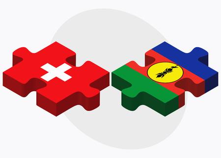 new caledonia: Switzerland and New Caledonia Flags in puzzle isolated on white background Illustration