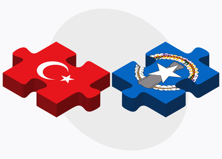 mariana: Turkey and Northern Mariana Islands Flags in puzzle isolated on white background