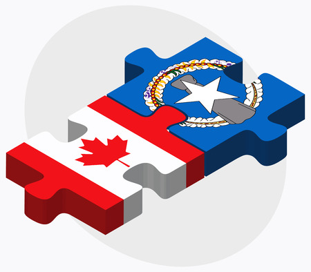 mariana: Canada and Northern Mariana Islands Flags in puzzle isolated on white background