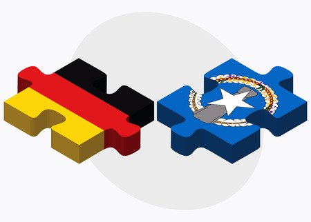 mariana: Germany and Northern Mariana Islands Flags in puzzle isolated on white background Illustration