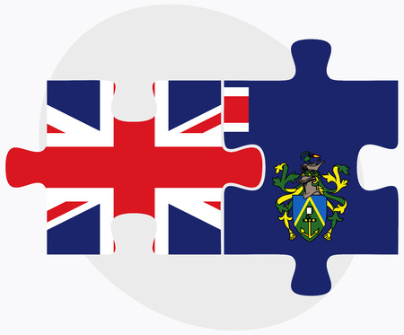 pitcairn: United Kingdom and Pitcairn Islands Flags in puzzle isolated on white background