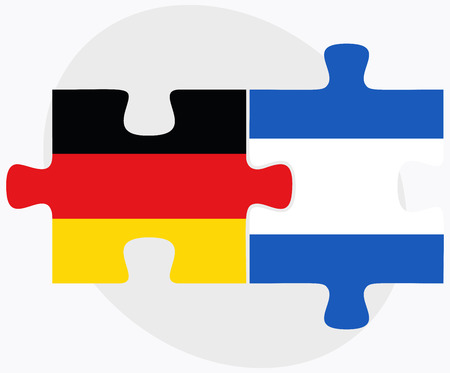 federal republic of germany: Germany and Nicaragua Flags in puzzle isolated on white background