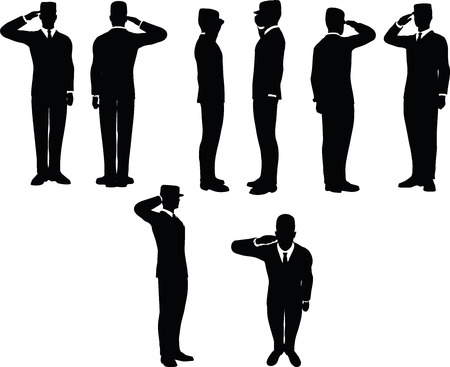 infantryman: businessman silhouette wih army cap in saluting pose isolated on white background